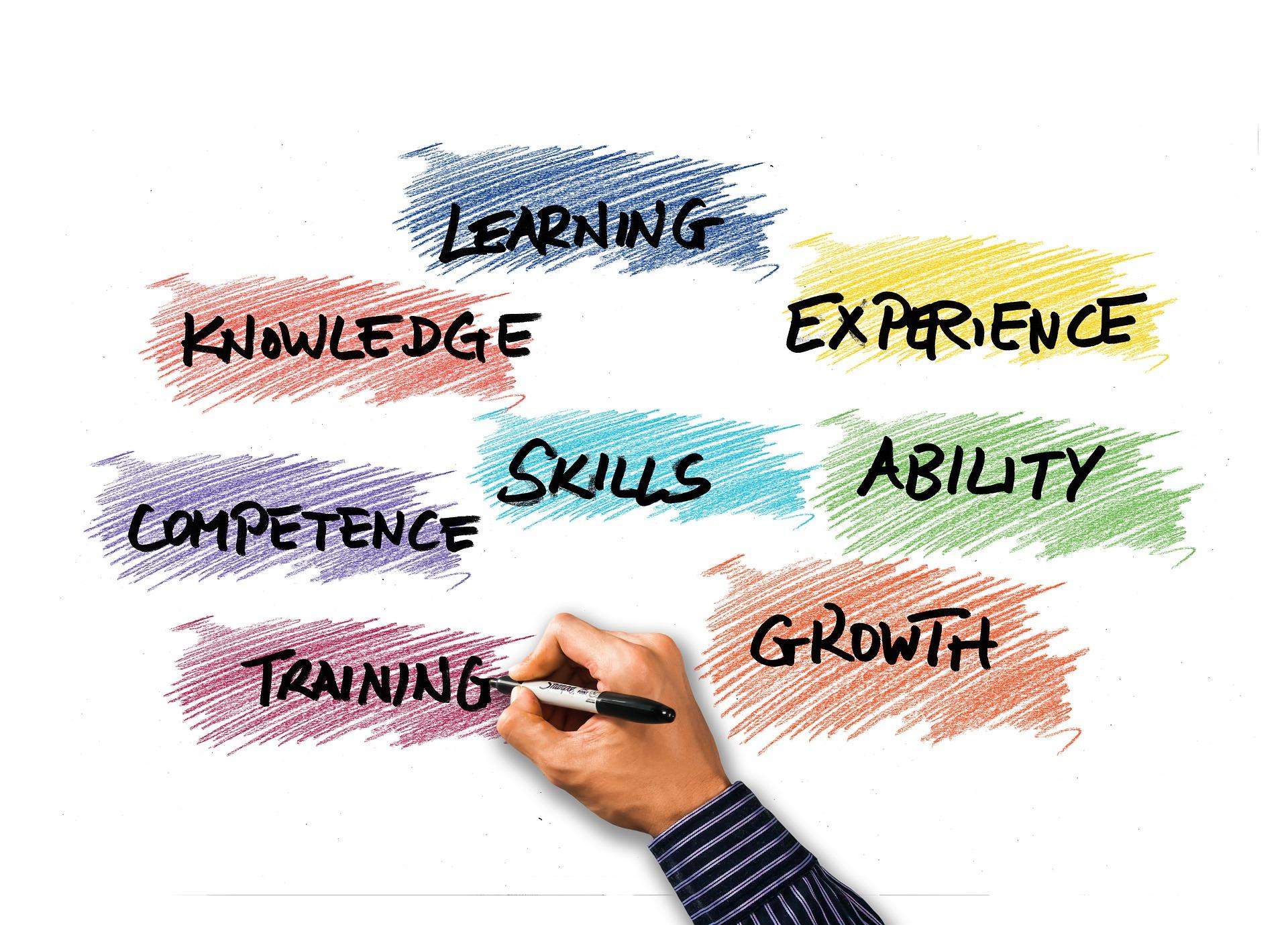 Chart z umiejętnościami zdobytymi ze szkoleń dla recepcji w hotelu